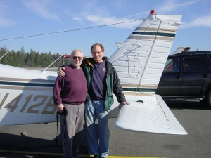 Jerry & Jim Self (for whom TIME CYCLES was composed) at Jim's plane